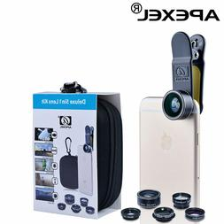 Apexel 5 in 1 HD Camera Lens Kit 198°Fisheye Lens+0.63x Wid