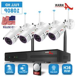 1080P Secueiry Cameras System Wireless Home HD 8CH CCTV NVR