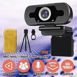 1080P Webcam w/ Microphone Tripod USB HD Camera, for Zoom Yo