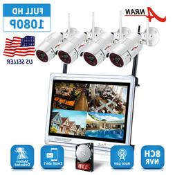 """1TB Wireless Security Camera System 8CH 1080P HD 12""""LCD Home"""
