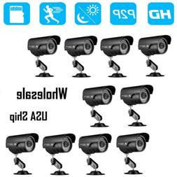 2/4/10Pack 1200TVL HD Infrared Waterproof CCTV Security Came