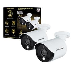 2 Pack 5MP HD Wired Cameras with Built-in Spotlights Motion