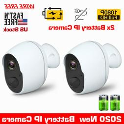 2x 1080P HD Wireless Security Camera Rechargeable Battery Po