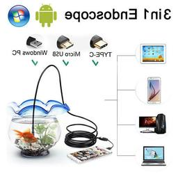 3 in 1 USB Type C Endoscope 7mm Inspection HD Camera For And