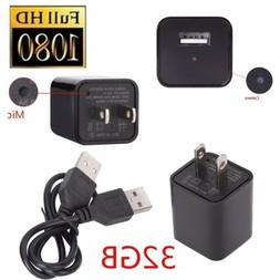 32GB 1080P USB Mini SPY Motion Hidden Wall Charger Camera US