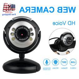 360° Computer Cameras USB 2.0 30.0M 480P 6 LED HD Webcam Wi