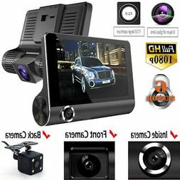 "4 "" Full HD 1080P Car DVR Dash Cam with Rear View Cameras Re"