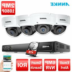 ANNKE 4CH 6MP HD NVR WDR 4x 1080P 2MP POE Security Camera Sy