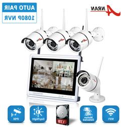 "4CH HD 960P Wireless Home Security Cameras System With 12"" L"