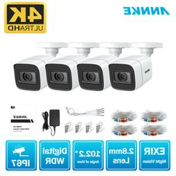 ANNKE 4pcs 4K 8MP CCTV Security HD TVI Camera IP67 Outdoor H