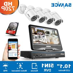 """SANNCE 5in1 10"""" LCD Monitor 4CH P2P DVR 720P HD-TVI Security"""