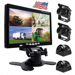 "7"" HD Quad Split Monitor +4x Front Side Backup Rear View Cam"