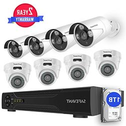 Safevant 8CH 5-in-1 HD DVR Security Camera System ,4pcs Dome