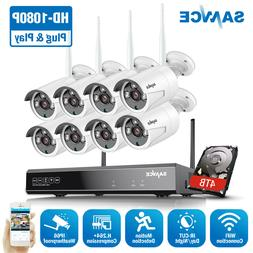 SANNCE 8CH H.264+ NVR HD 1080P Wireless IP 2MP CCTV Security