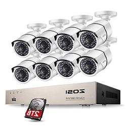 ZOSI Full HD 1080P PoE Video Security Cameras System,8CH 108