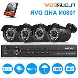 8CH Security Camera System FLOUREON HD-TVI 1080P Video DVR R