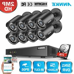 ANNKE 5in1 1080P Lite 8CH DVR HD 2MP 3000TVL CCTV Outdoor Se
