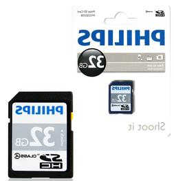 GENUINE PHILIPS 32GB SD SDHC HD MEMORY CARD CLASS 4 DIGITAL