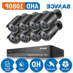 SANNCE 100ft Night Vision 2MP HD Cameras 8CH Full 1080P 5in1