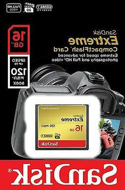 SanDisk 16GB Extreme CompactFlash 120MBs Memory Card HD Came