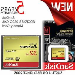 SanDisk Extreme SDCFXSB-032G-G46 32GB CompactFlash Memory Ca