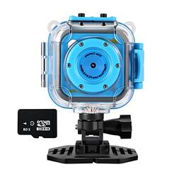 Kids Action Camera with Memory Card, Amkov Waterproof Sports