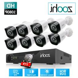 1080P 4/8CH CCTV DVR 2MP HD Outdoor Security Camera System W