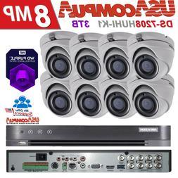 HIKVISION CCTV 8 CHANNEL 8 CAMERAS 5MP 2.8mm TURBO-HD 3TB PU