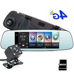 """junsun 4G 7"""" Dash Cam Car Camera DVR GPS Bluetooth Dual Lens"""
