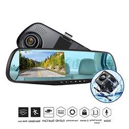 "Dash Cam 1080P Full HD 4.3"" LCD Mirror Car Video Recorder Du"