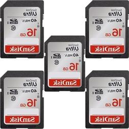 5x Genuine SanDisk Ultra 16GB Class 10 SDHC Flash Memory Car