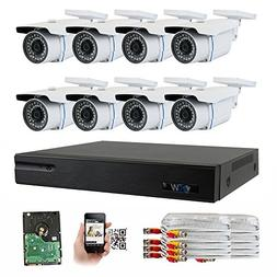 GW Security 8-Channel HD-TVI 1080P Complete Security System