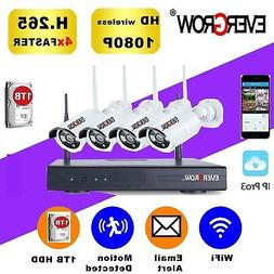 H265+ HD Wireless Home Security Camera System 4-Channel 4 Ca