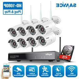 SANNCE HD 1080P 8CH NVR Wireless 2MP IP Network Security Cam