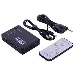 5 PORT HDMI Switch Switcher Selector Splitter Hub Box Remote