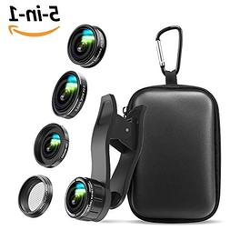 iPhone Camera Lens , 5 in 1 Cell Phone Camera Lens 0.5x Wide