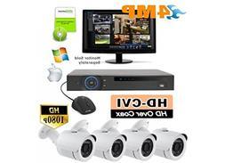 Outdoor Surveillance Camera Kit - 4 HD Weather Resistant Bul