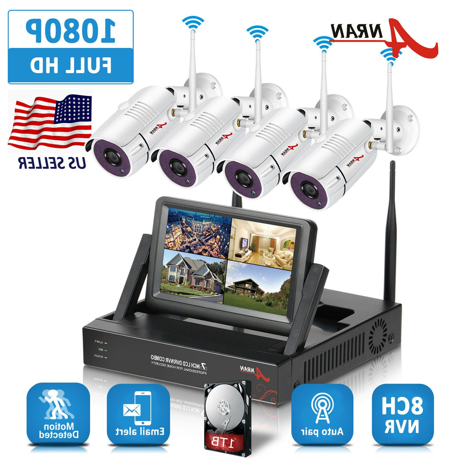 "ANRAN 12""LCD Monitor NVR Wireless Camera System 8CH HDD"