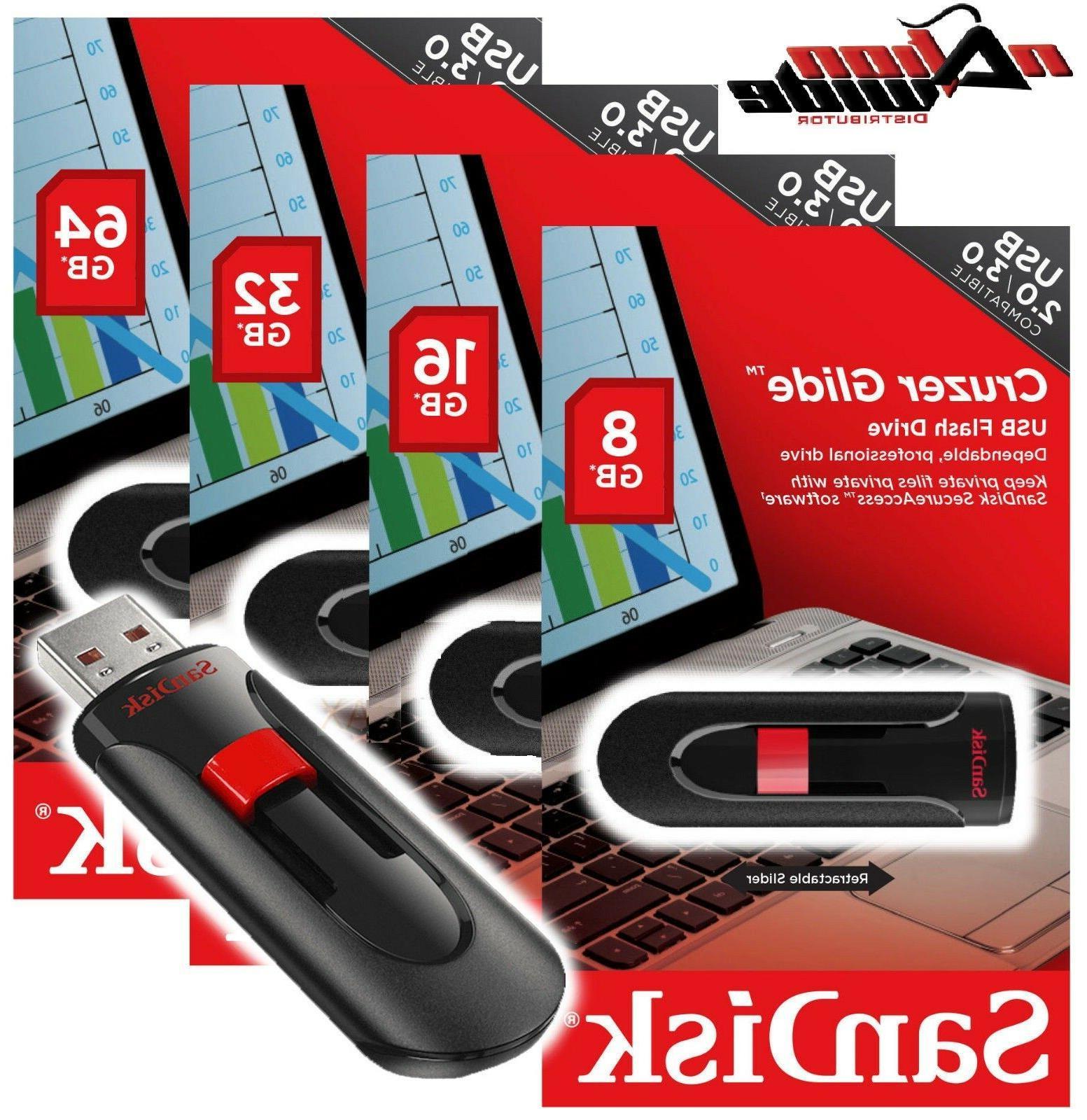 SanDisk 16GB 32G 64GB 128G CRUZER GLIDE USB 2.0 Flash Memory