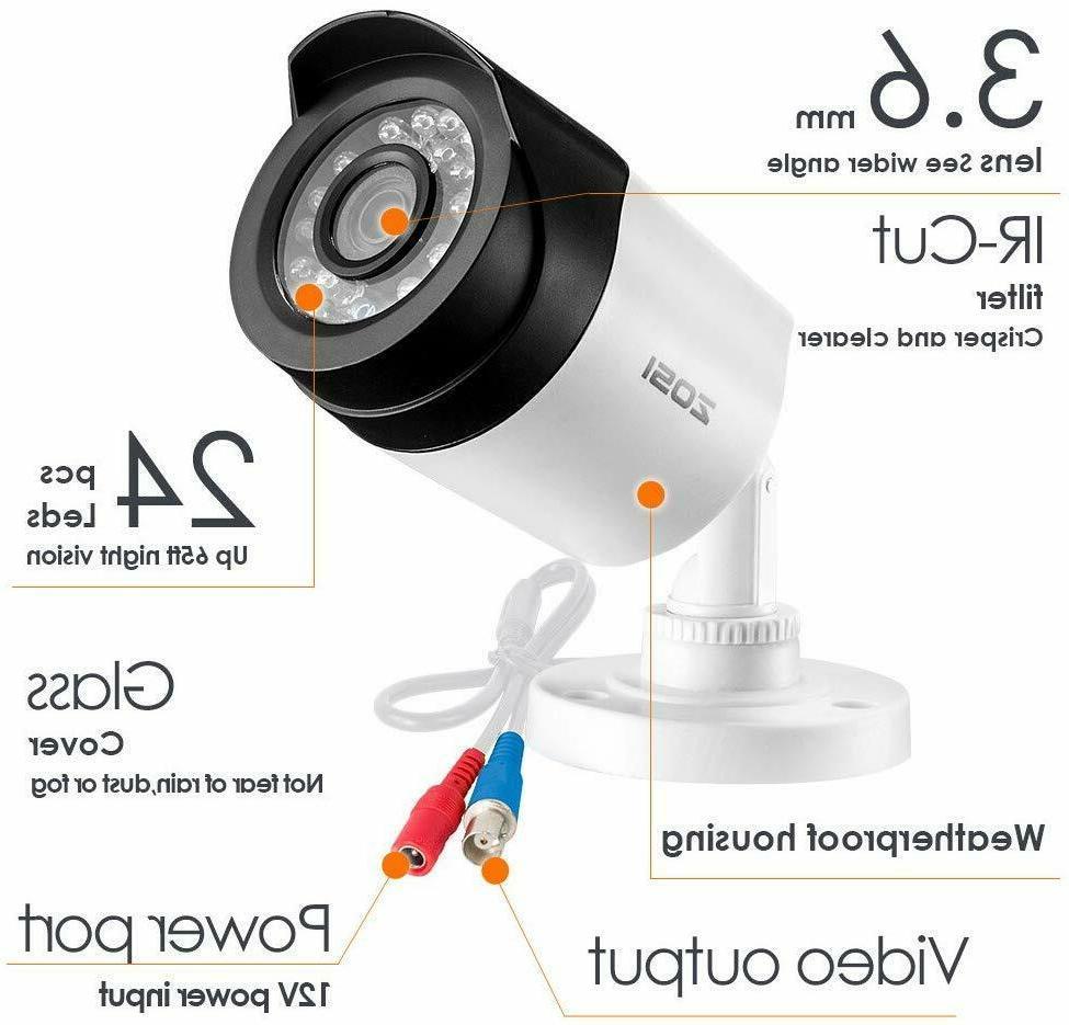 ZOSI 1080P HD-TVI Security Cameras Day Night Camera