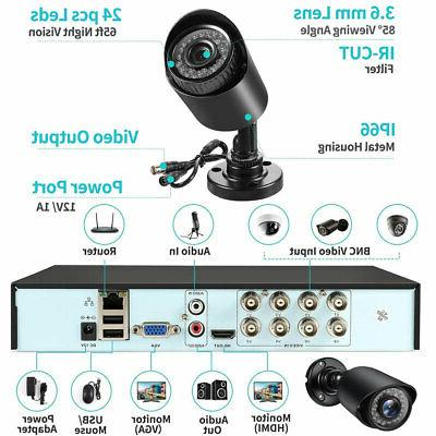 US 4 Cameras Outdoor Home Security Surveillance Camera 1080p