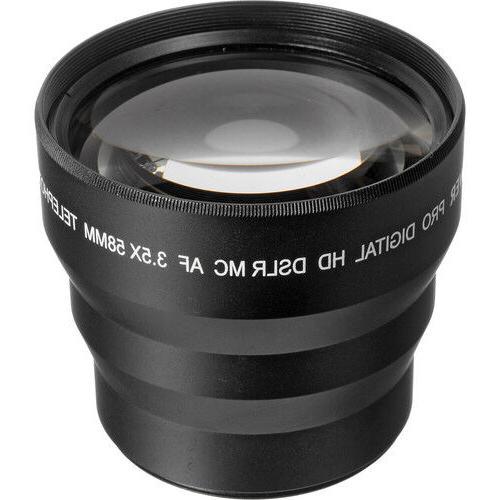 52mm BOWER HD 3.5X TELEPHOTO ZOOM LENS FOR NIKON DSLR CAMERA