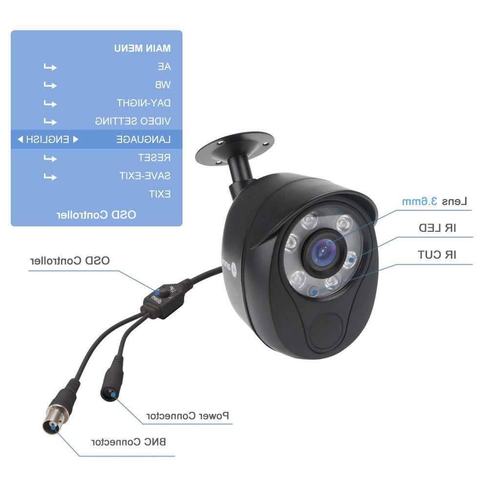 anni 720P HD Camera adjustable TVI/CVI/AHD/960H