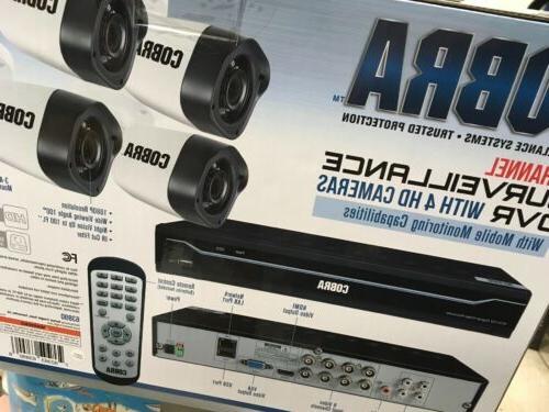 Cobra 8 DVR w/ 4 Cameras Security NEW Kit 1TB