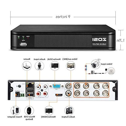 ZOSI Channel Surveillance DVR Hard 1TB and HD 1280TVL CCTV Cameras,Remote Access and Motion Detection