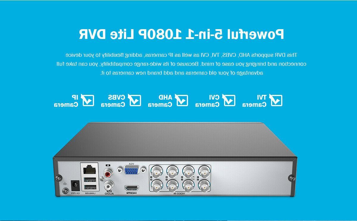 ANNKE 8CH TVI DVR 2MP Home Surveillance Security 0-4T HDD