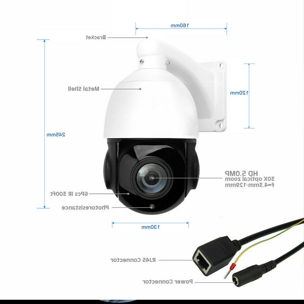 Built-in POE PTZ Camera 5MP HD 2592x1944 Pan/Tilt Zoom Speed Dome