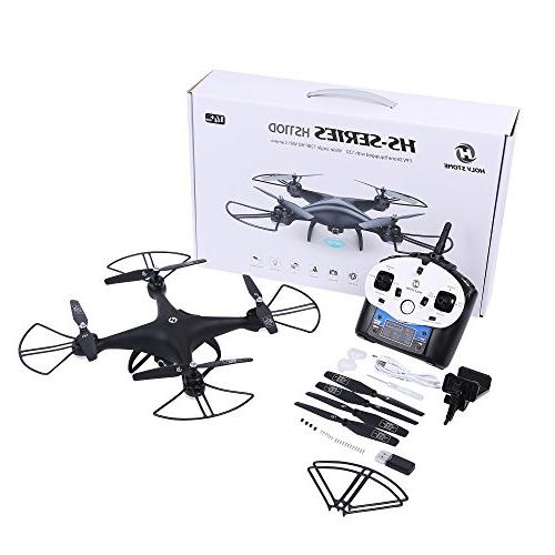 Holy HS110D RC with HD Live Video 120° Wide-Angle WiFi Quadcopter with Hold Mode Flips with Modular Battery, Black
