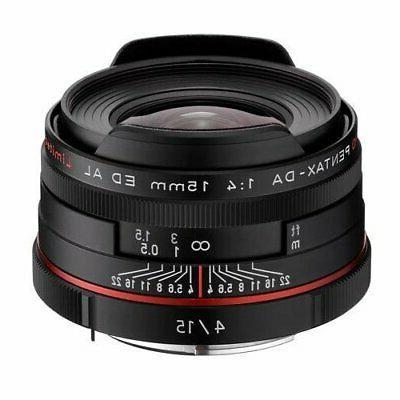 Pentax K-Mount HD DA 15mm f/4 ED AL Fixed Lens for Pentax Ca