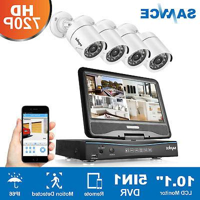 """SANNCE Wired Bullet HD-TVI 720P Security Cameras 10"""" LCD Mon"""
